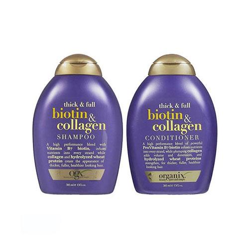 Bộ Dầu Gội Xả Chăm Sóc Tóc Biotin Collagen Organix Thick And Full