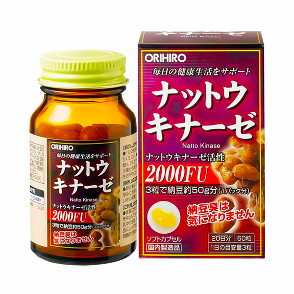 Viên uống chống đột quỵ Natto Kinase 2000FU Orihiro 60v Nhật Bản