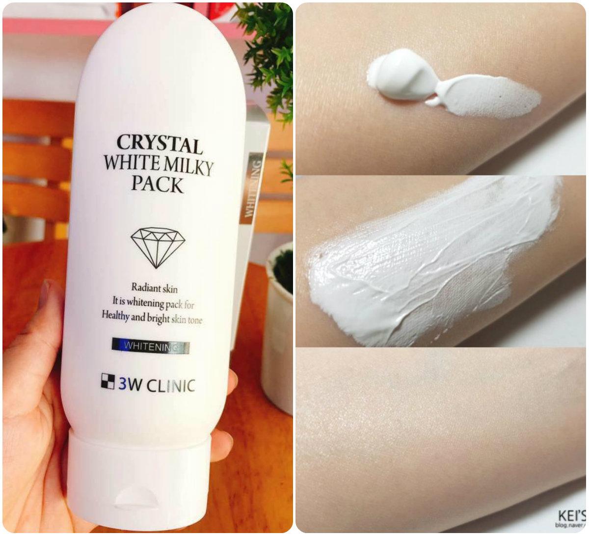 Kem Tắm Trắng Da 3W Clinic Crystal Whitening Milky Pack 200g